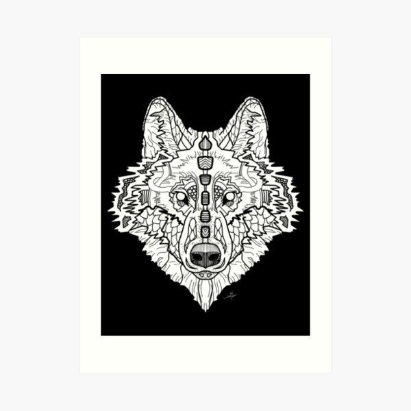 Norse Wolf White Art Print