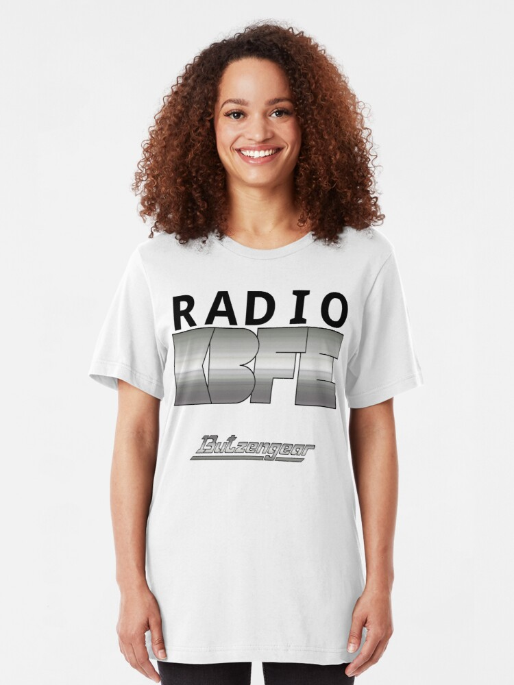 Alternate view of Radio KBFE on White Slim Fit T-Shirt