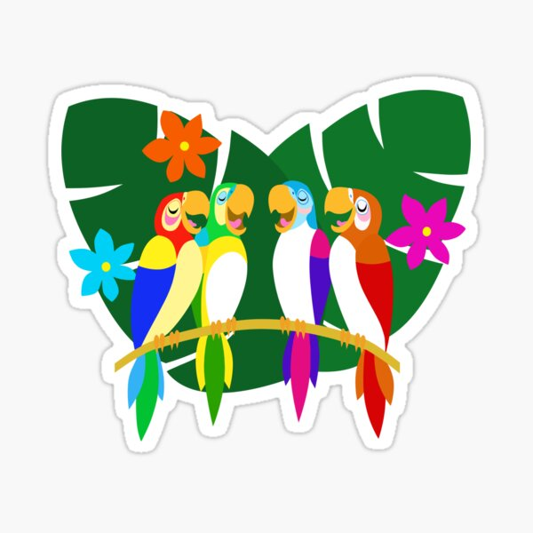 Tropical Singing Feathered Friends   Sticker