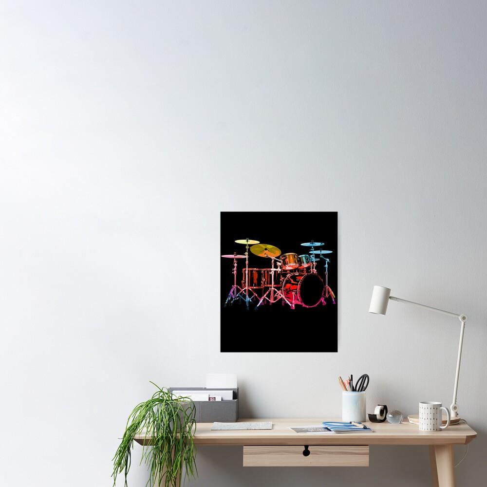 Drum Set (bold digital colors) Poster