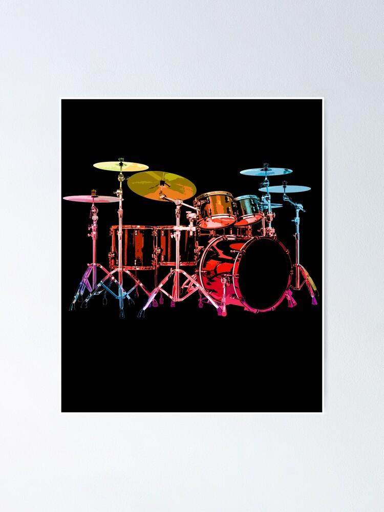 Alternate view of Drum Set (bold digital colors) Poster
