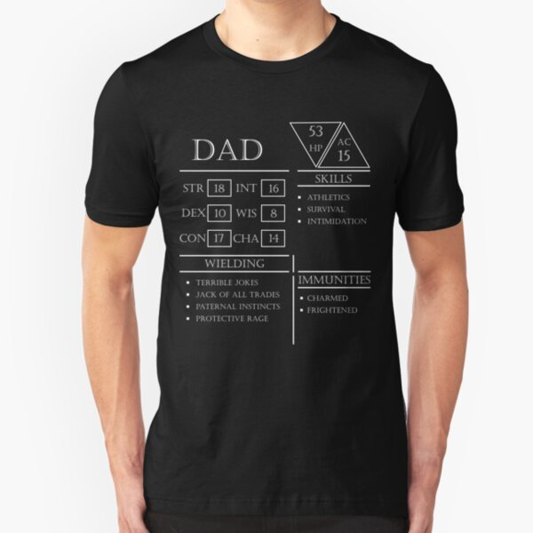 Dad Stats - Character Sheet - White Slim Fit T-Shirt