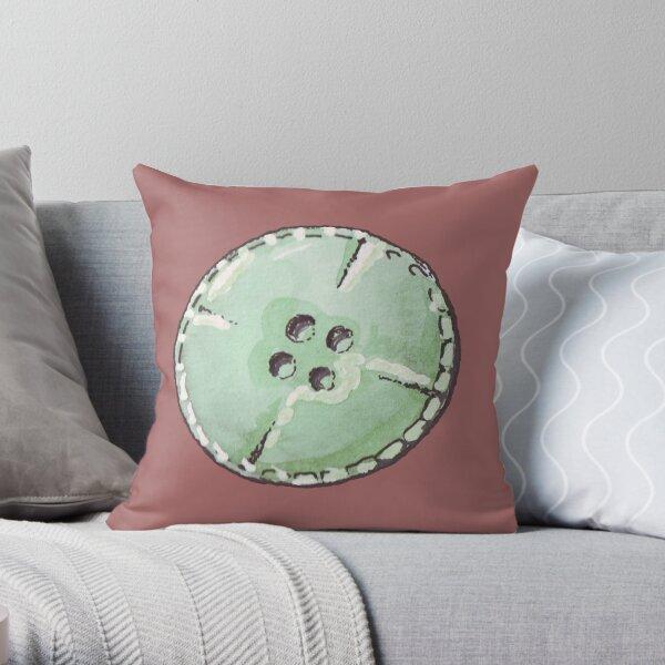 Green button original aquarelle Throw Pillow