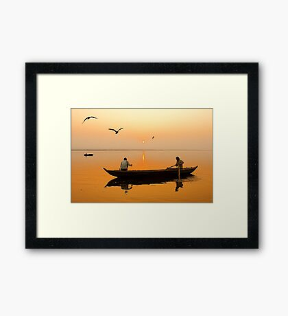 The Holy Ganga and the Morning Time. Framed Print