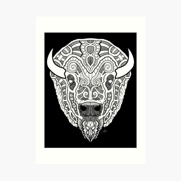 Norse Bison White Art Print