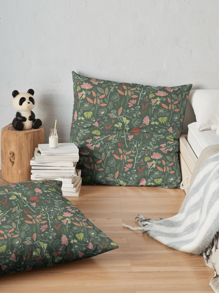 Alternate view of Glowy bosque forest floral pattern Floor Pillow