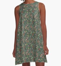 Glowy bosque forest floral pattern A-Line Dress