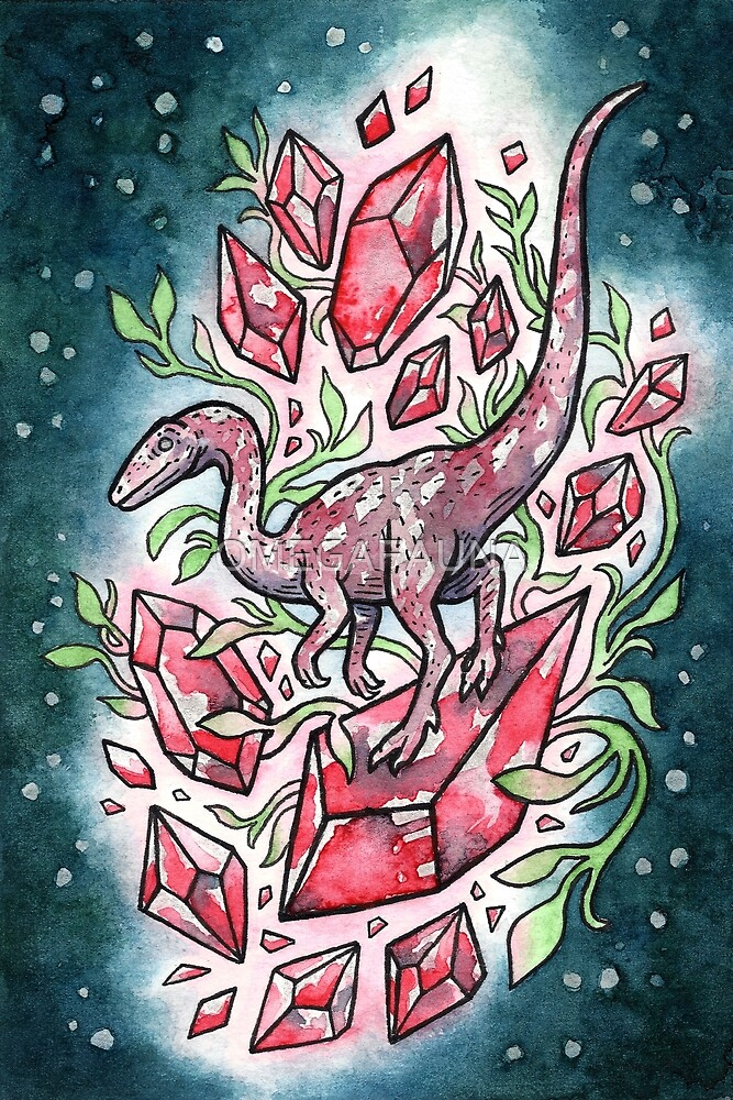 Ruby Coelophysis | Dinosaur Crystal Watercolor by OMEGAFAUNA