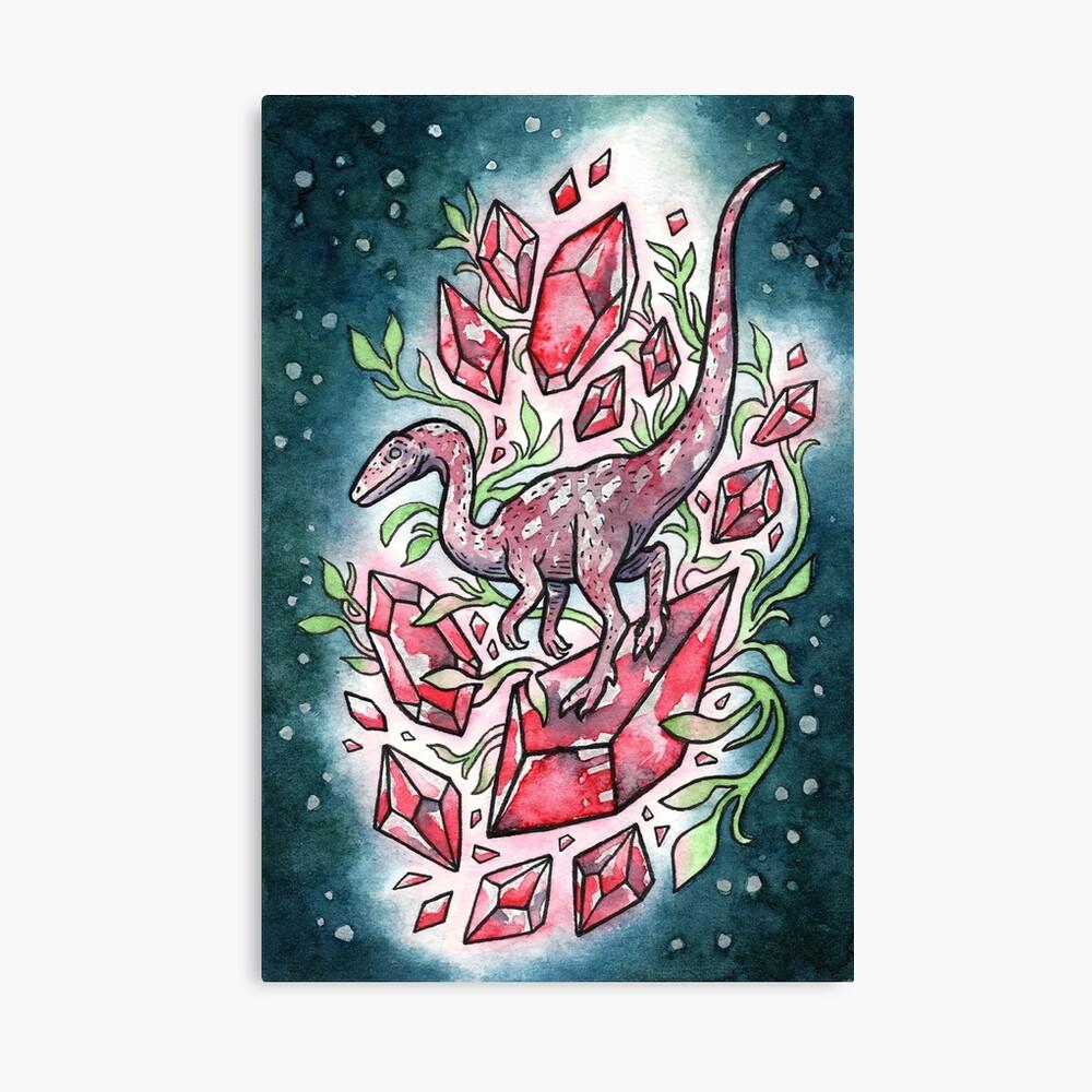 Ruby Coelophysis | Dinosaur Crystal Watercolor Canvas Print