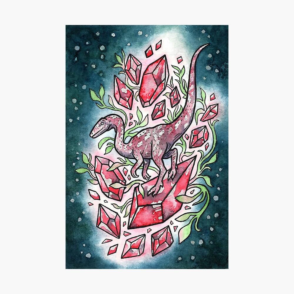 Ruby Coelophysis | Dinosaur Crystal Watercolor Photographic Print