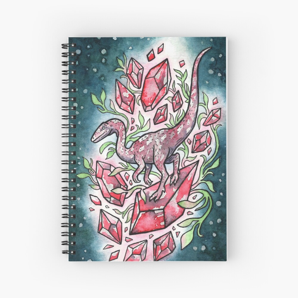 Ruby Coelophysis | Dinosaur Crystal Watercolor Spiral Notebook