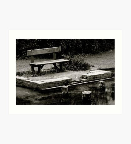 Empty bench at Silent Pool Art Print