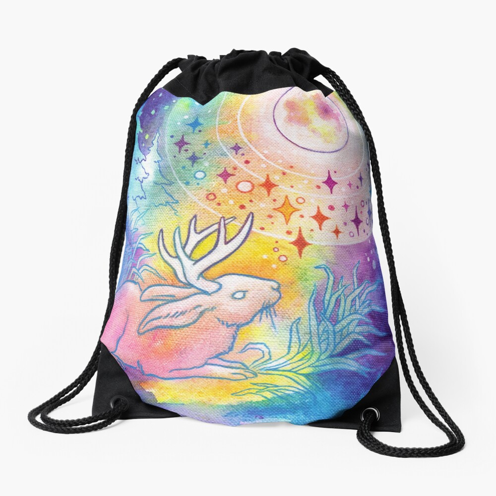 Jackalope of the Night   Rainbow Moon Painting Drawstring Bag