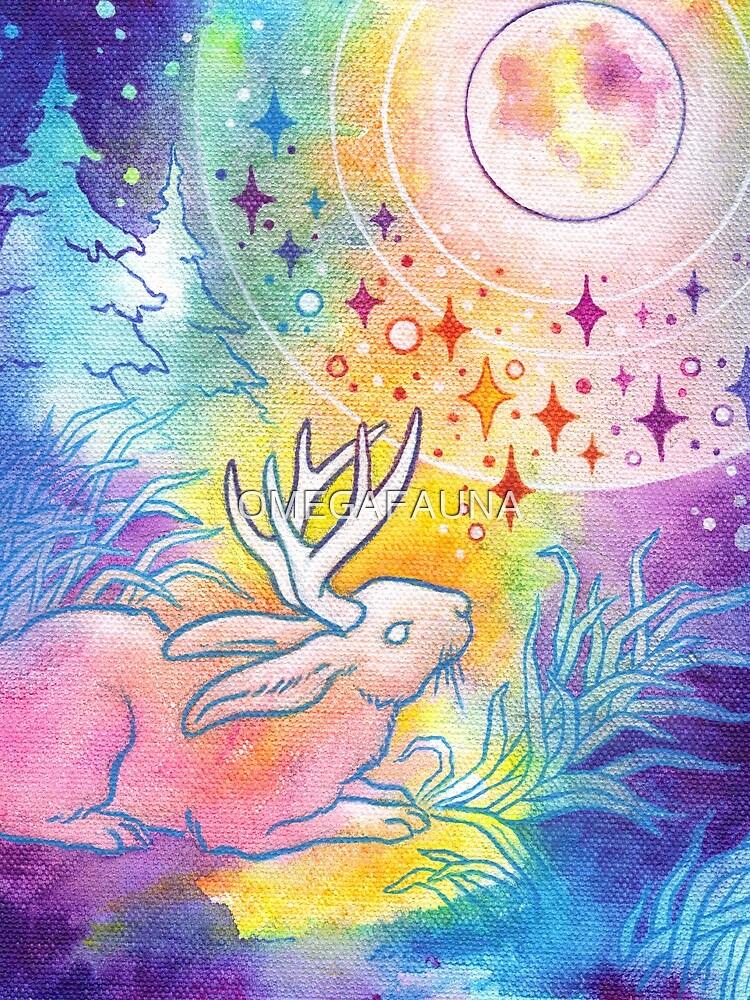 Jackalope of the Night   Rainbow Moon Painting by OMEGAFAUNA