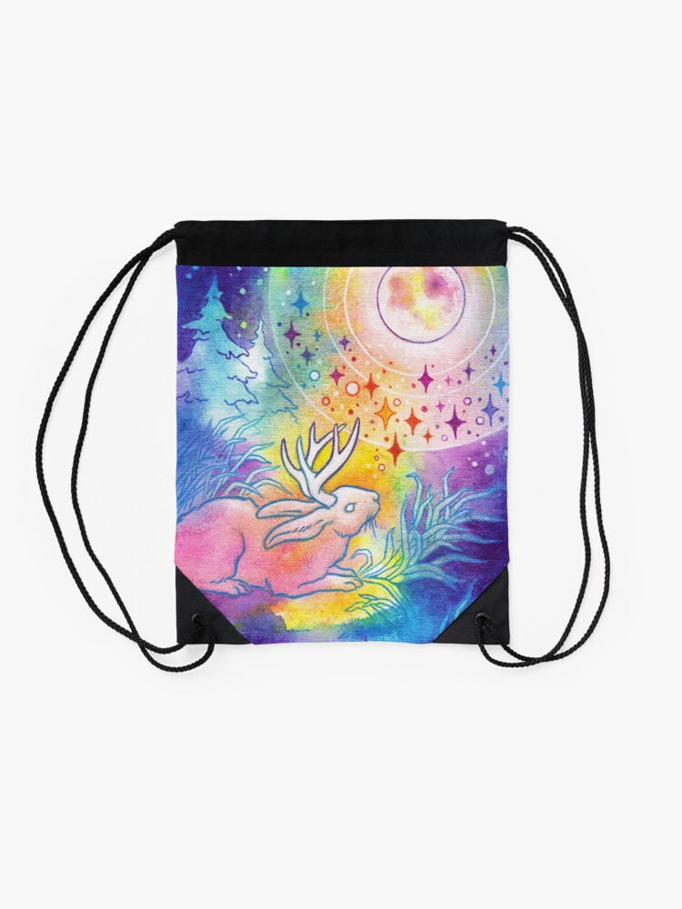 Alternate view of Jackalope of the Night   Rainbow Moon Painting Drawstring Bag
