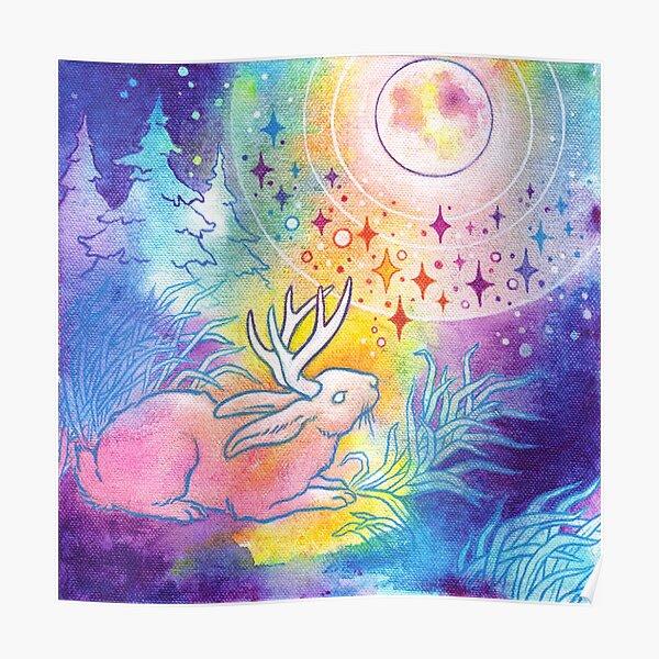 Jackalope of the Night | Rainbow Moon Painting Poster