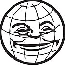 GRINNING GLOBE Vintage Art by Bruce ALMIGHTY Baker