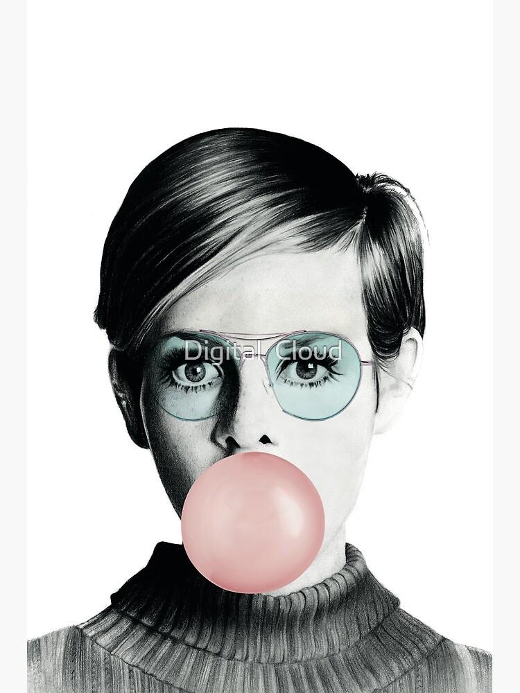 Twiggy Bubble Gum, Bubblegum Fashion Icon Pop Art by nth4ka