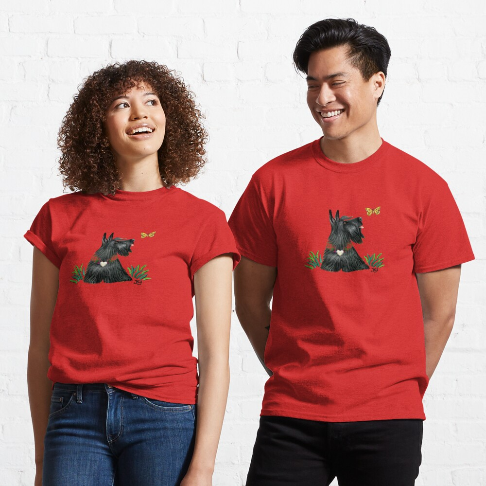 Scottish Terrier Watching a Butterfly Classic T-Shirt