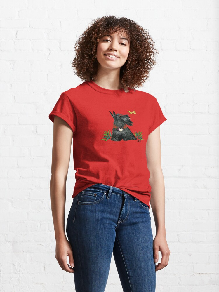 Alternate view of Scottish Terrier Watching a Butterfly Classic T-Shirt