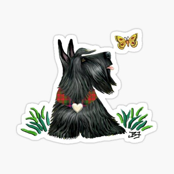 Scottish Terrier Watching a Butterfly Sticker