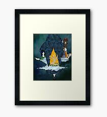 Little Blue Ship at Night Framed Print