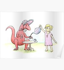 Tea Party with a Velociraptor  Poster
