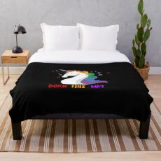 Born This Way, LGBT Pride Unicorn Art Throw Blanket