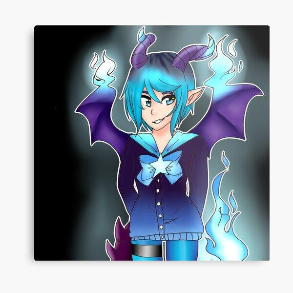Blue Fire Dragon Girl Metal Print