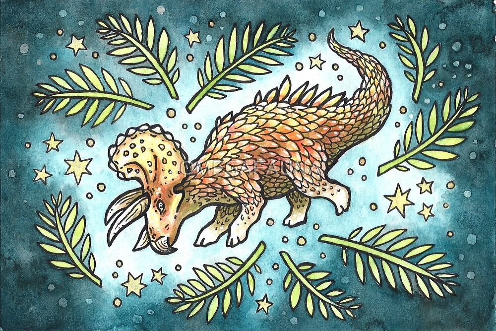 The Golden Tricera | Dinosaur Watercolor Painting by OMEGAFAUNA