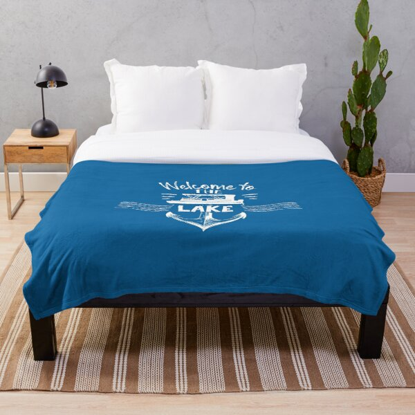 Welcome to the lake with anchor pontoon boat summer at the lake cute gift  Throw Blanket