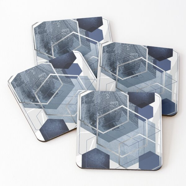 Blue and Grey Geo Coasters (Set of 4)