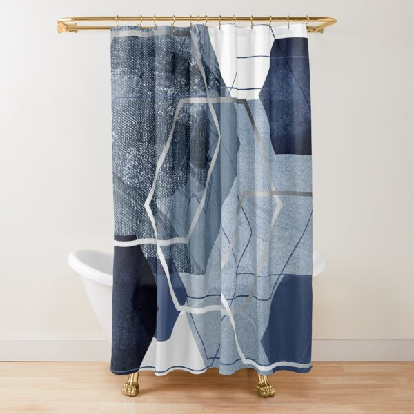 Blue and Grey Geo Shower Curtain