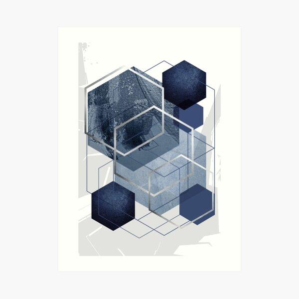 Blue and Grey Geo Art Print