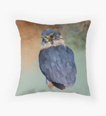 Merlin - Bird Art:  - UK's smallest bird of prey.  Throw Pillow