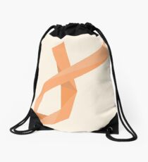 Geometric Womb Cancer Ribbon Drawstring Bag