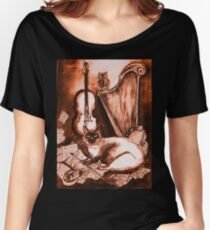 MUSICAL CAT AND OWL  Brown Sepia White Women's Relaxed Fit T-Shirt