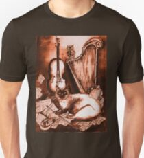 MUSICAL CAT AND OWL  Brown Sepia White T-Shirt