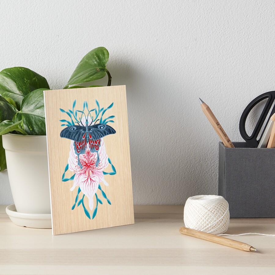 Pintura de tatuaje de orquídea mariposa en madera Lámina rígida