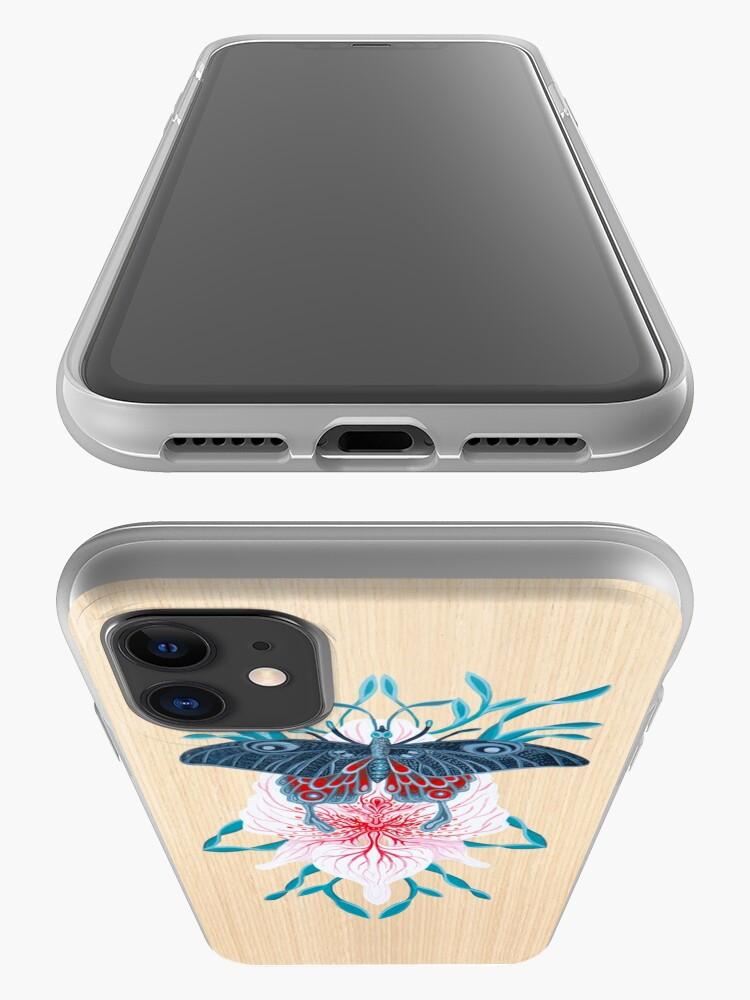 Vista alternativa de Funda y vinilo para iPhone Pintura de tatuaje de orquídea mariposa en madera