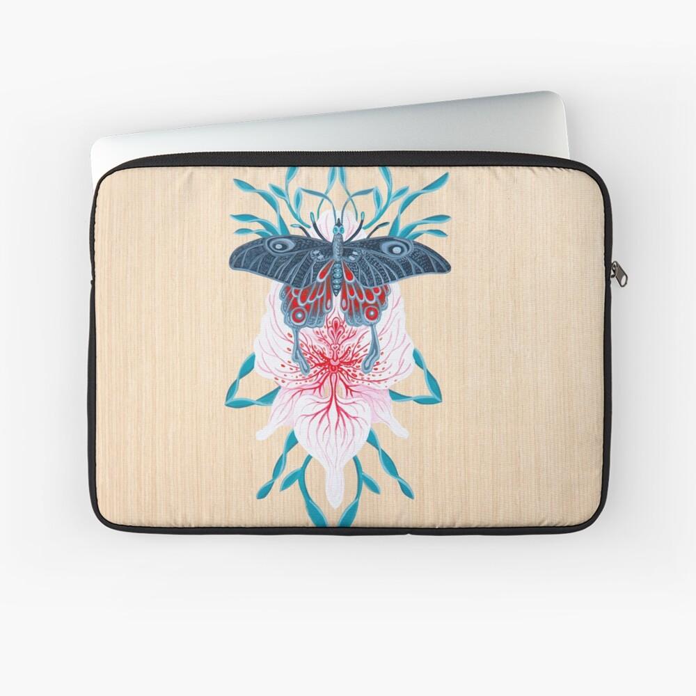 Pintura de tatuaje de orquídea mariposa en madera Funda para portátil