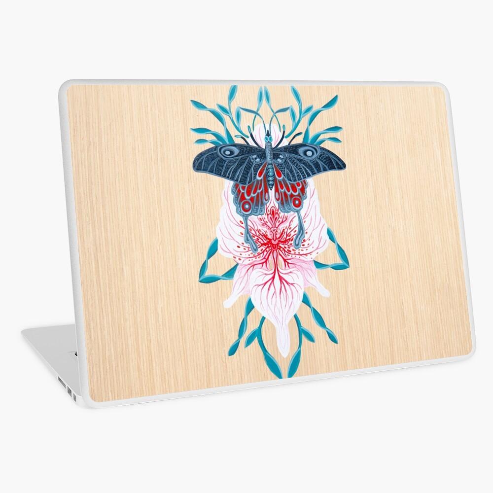 Pintura de tatuaje de orquídea mariposa en madera Vinilo para portátil