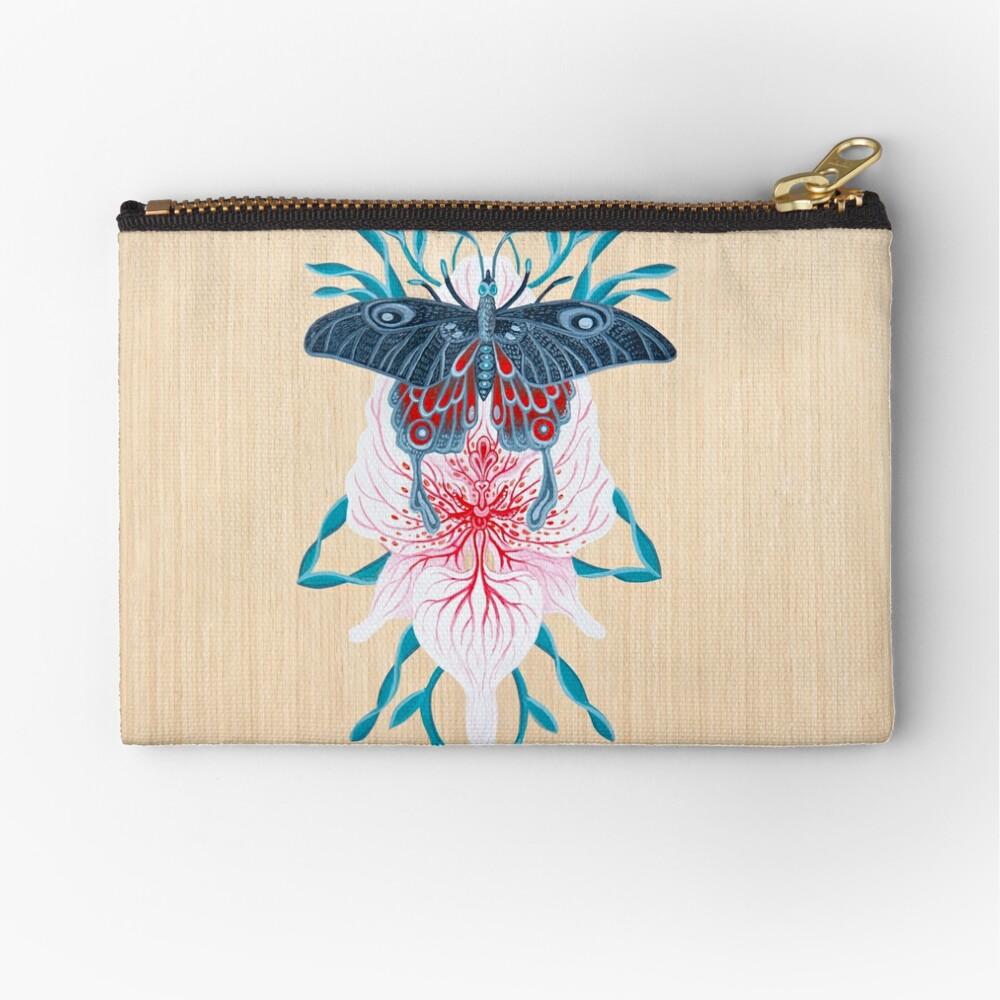Pintura de tatuaje de orquídea mariposa en madera Bolsos de mano