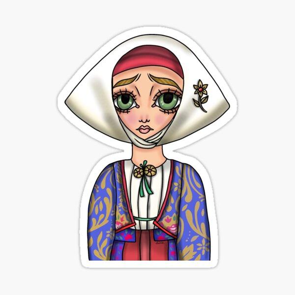 Abito tradizionale di Meana Sardo - Traditional Sardinian Dress Sticker