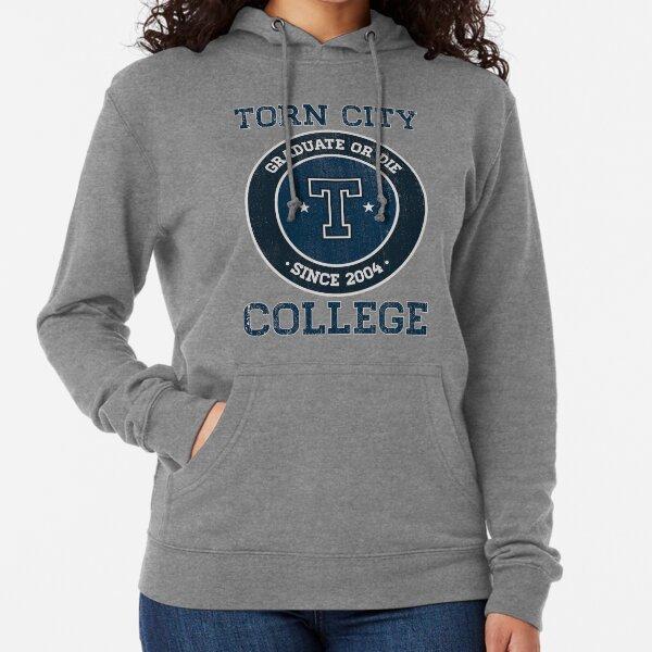 Torn College Logo Lightweight Hoodie