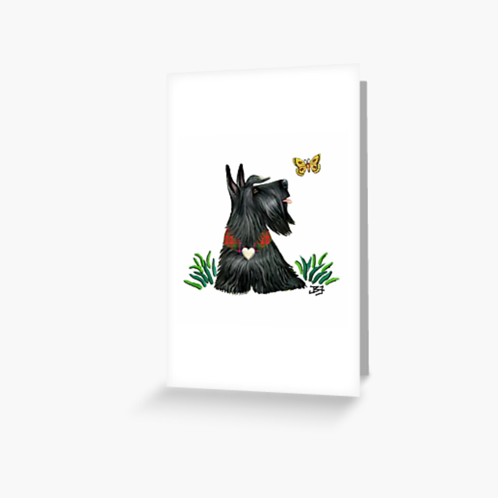 Scottish Terrier Watching a Butterfly Greeting Card