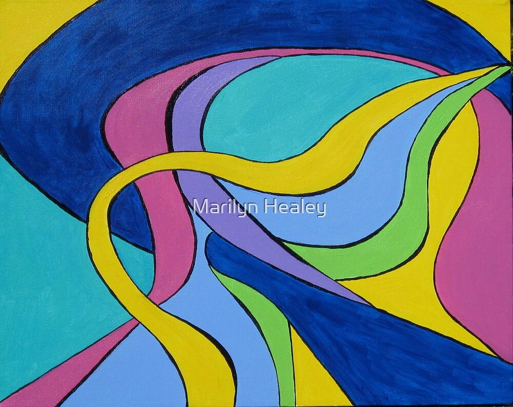 Yellow Ribbon Geometric by Marilyn Healey