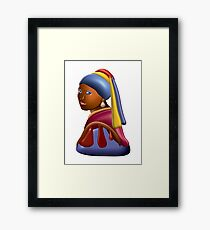 Chocolate Vermeer Girl With A Pearl Earring Framed Art Print
