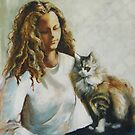 Girl with Cat by Lyn Fabian