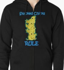 Stacked Chicks Zipped Hoodie